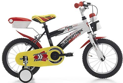 Cinzia Funky Boy, bicicletta per bambini da 14 pollici, colore: nero/bianco