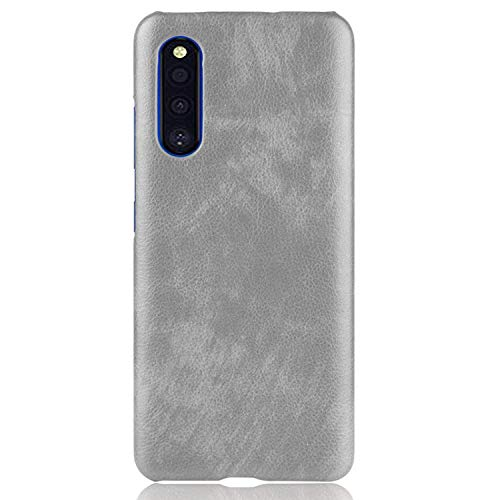 Samsung Galaxy A41 SC-41A ハードケース カバーPU レザー調 ギャラクシー A41 シンプル ハードケース アンドロイド おしゃれ スマートフォン/スマフォ/スマホケース/カバー(グレー)