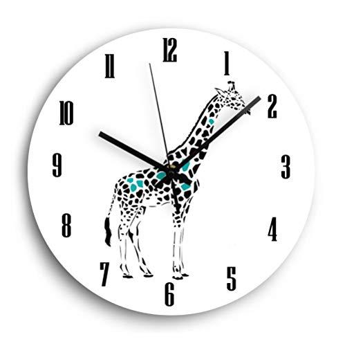 Wandklok Giraffe Zebra Houten Klok Dier Quartz Dempen Decoratie Houten Digitale Wandklok Kinderkamer Woondecoratie Modern Design