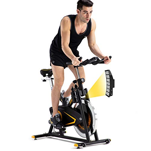 XGEAR Exercise Bike, Magnetic Resistant Spin Bike, Belt Drive Indoor Cycling Bike, Heavy Chromed Flywheel, Heart Rate Sensor Stationary Bike for Home Cardio Workout Aerobic Training