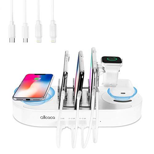 allcaca Ladestation Mehrere Geräte USB Ladestation 10W Schnellen Aufladen 2 Kabelloses Ladegerät für Airpods iPhone Samsung Huawei, Uhrenständer für Apple Watch Series, 4 Kabel Inklusive Weiß