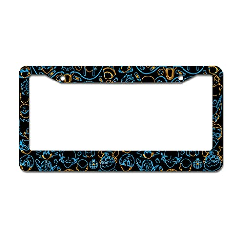 Stainless Steel License Plate Frame Wish Permanent Patterned Humorous Rain-Proof - License Plate Cover Holder with Standard 2 Hole and Screws white 16x31cm