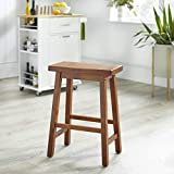 Target Marketing Systems The Arizona Collection Contemporary Wooden Dining Saddle Stool, 30' Tall, Chestnut Finish