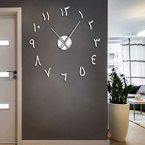 Relojes de pared gigantes con números arábigos y números arábigos acrílicos efecto espejo pegatinas sin marco, gran silencioso, decoración del hogar (plata, 27 pulgadas)