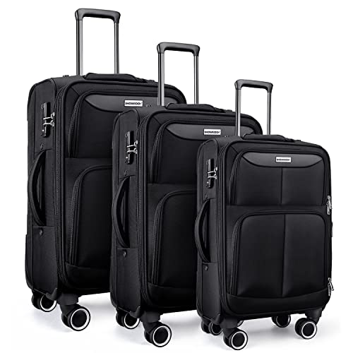 SHOWKOO Luggage Sets 3 Piece Softside Expandable Lightweight Durable Suitcase Sets Double Spinner Wheels TSA Lock Black (20in/24in/28in)
