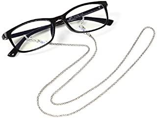 ColorfylCoco (カラフィルココ) 眼鏡ストラップ/サングラス/メガネチェーン 全長76cm シルバーカラー 軽量 ズレ落ち防止 男女兼用 シリコン 留め具