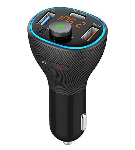 2021年新設計 FMトランスミッター Bluetooth5.0 PD18W&QC3.0急速充電 Google Assistant&Siri対応 シガーソケット 3つ充電ポート(合計41W) ノイズキャンセリング ハンズフリー通話 電圧測定 12~24V カーチャージャ USBメモリ対応 メーカー2年保証