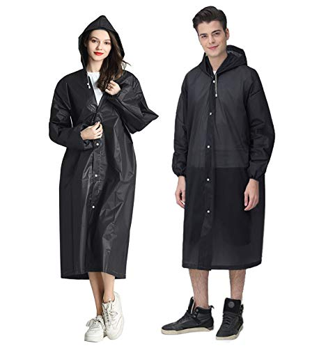 HLKZONE Raincoat, [2 Pack] Portable EVA Rain Coats Reusable Rain Poncho with Hood and Elastic Cuff Sleeves, Black