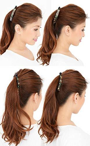 美人髪バナナクリップ105mmアセテートのマーブル柄タップリ挟んで、しっかりとまるべっ甲色