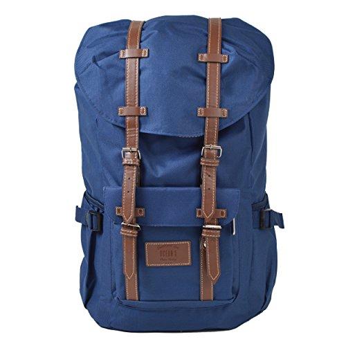 Großer Laptop-Rucksack für 17 Zoll, Damen und Herren, 22L Vintage Backpack - Montreal - lässiger Unisex Retro Tagesrucksack, Blau/rote Streifen