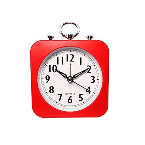 NZFERT Reloj Despertador analógico clásico Reloj Despertador silencioso Inicio Cuadrado Simple del Funcionamiento del Reloj de la batería Conveniente for la Oficina Dormitorio Viajes Despertador