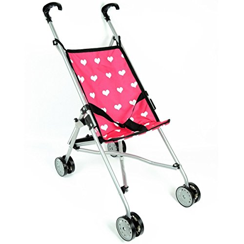 The New York Doll Collection Hearts Buggy for Kids - Pink Super Cute Doll Pram for Kids - Folds for Storage - Fits for 18 Inch / 46 cm
