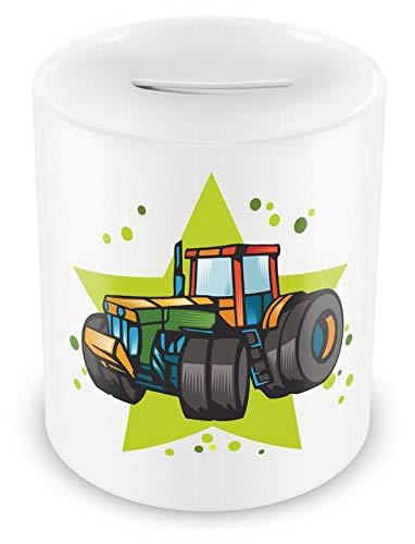Samunshi® Kinder Spardose mit dem Motiv Traktor für Kinder - Jungen und Mädchen Sparschwein Sparbüchse weiß