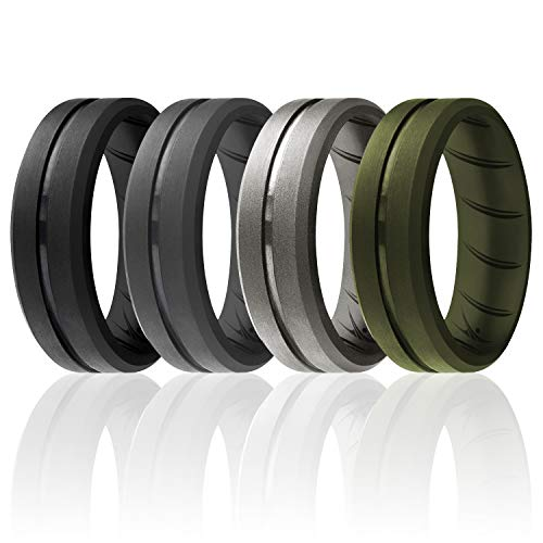 ROQ Silicone Rings, Breathable Silicone Rubber Wedding Ring Band for Men with Comfort-Fit Design, 8mm Engraved Middle Line, 4 Pack, Silicone Wedding Ring - Black, Grey, Silver, Green Colors - Size 9
