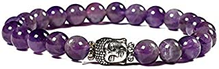 Divine Elements Lab Certified Natural Amethyst Bracelet (8mm) Healing Crystal Stone for Education Memory and Concentration. with Certificate