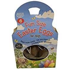 Six small fun sized eggs specifically made for dogs Free from cocoa, wheat and gluten Made from carob; the dog friendly alternative to chocolate Barcode: 5024703001862 Style: 6 X 20 GM
