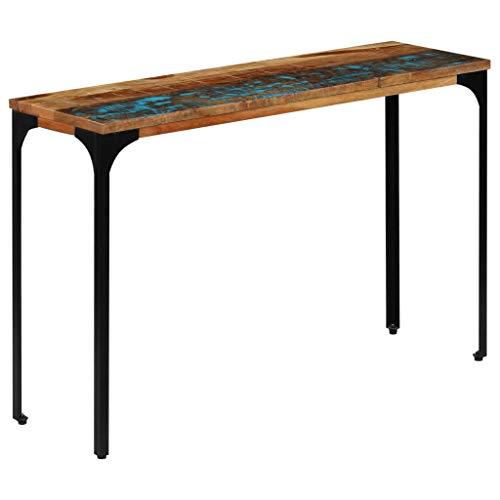 Festnight Konsolentisch | Holz Konsole Ablagetisch | Industrial Flurtisch | Massivholz Recyceltes mit Stahlrahmen 120×35×76 cm