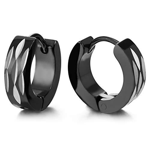 Paar Silber Schwarz Creolen für Herren Damen, Edelstahl Huggie Ohr Manschette Ohrringe mit Navette Laser-Muster