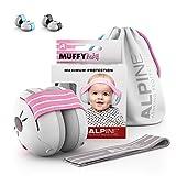 Alpine Muffy Baby Orejeras para bebés - Orejeras para bebés y niños de hasta 36 meses - Previene daños auditivos - Mejora el sueño en movimiento - fácil de ajustar - Rosa