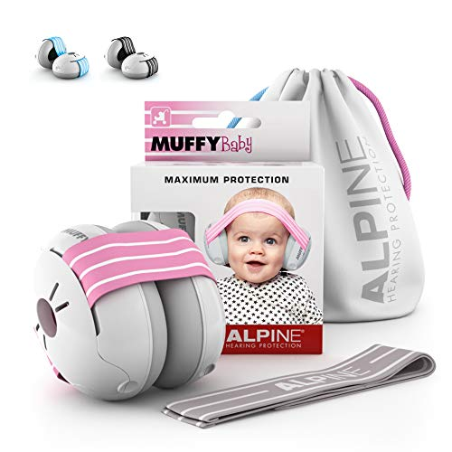 Alpine Muffy Baby Ear Defenders - Ear muffs for babies and toddlers up to 36 months - Prevents hearing damage - Improve sleep on the move - Comfortable fit - Pink