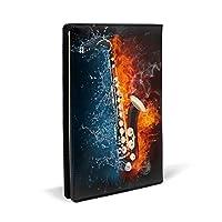 ブックカバー 高級PUレザー 軽量 耐久性 A5判 水と炎 サックス