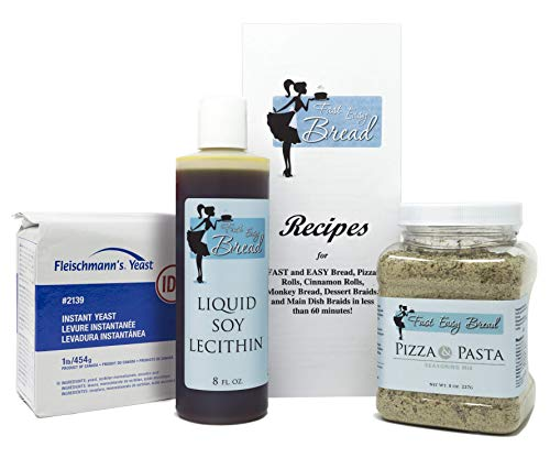 Homemade Pizza & Bread Bundle: Fleischmann's Instant Yeast, Liquid Soy Lecithin, and Pizza Pasta Seasoning to Make 44 Batches of Bread, Pizza, Cinnamon Rolls, etc.