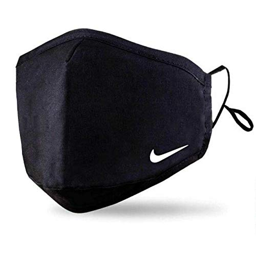Black Face Mask With 2 Free PM2.5 Filters (Washable Durable & Reusable) Custom Nike Mini Face Cover - White