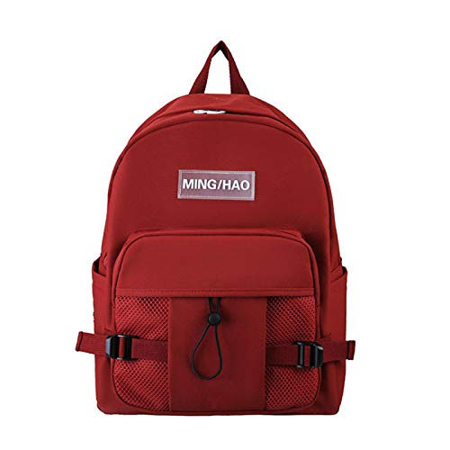 Canvas Junior High School Girl Student Backpack Anti-Theft Backpack Large Capacity Girl Bag Red