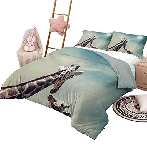 Juego de 3 colchas de jirafa, colcha liviana para dormitorio, para todas las estaciones, mamá, niño, jirafa en colores arcoíris, arte abstracto, imagen surrealista de animal, tamaño completo, multicol