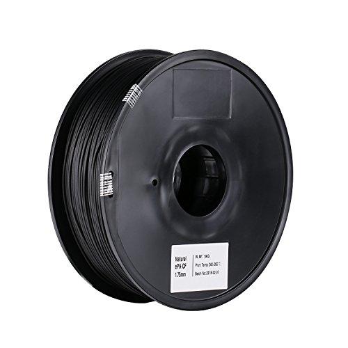 SainSmart - Bobina di filamento in fibra di carbonio ePA-CF da 1,75 mm, riempita in nylon, 1 kg (2,2 lbs), per stampanti 3D, Nero, 1