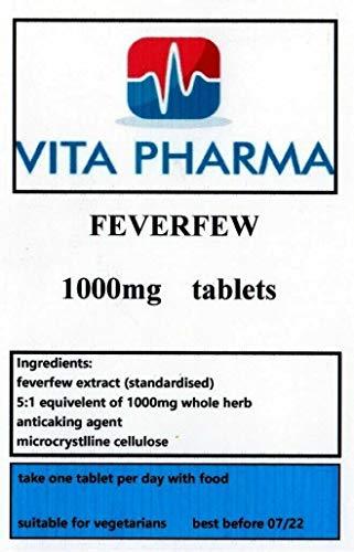 Feverfew high Strength 1000mg 30 Tablets, Headaches, MIGRAINE, HAYFEVER.