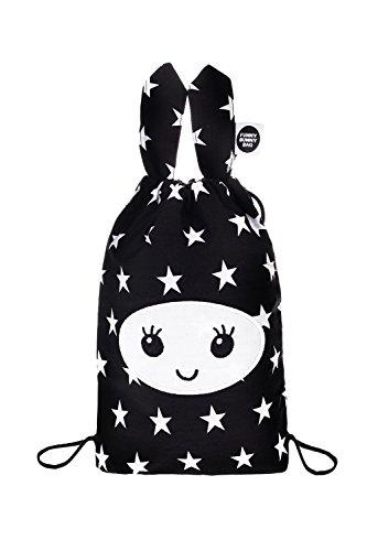 Alilo® Funny Bunny Bag - Kinder-Tragetasche Honey Bunny und viel mehr - Stofftasche Rucksackgurte Kinderrucksack (Schwarz)