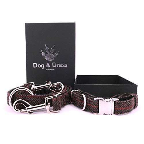 Dog & Dress by Nacy Kena Hundehalsband Und Leine Set, Hundehalsband Verstellbar,Hundeleine, 2m, 3 Ringe, Karabiner, Große Hunde + Kleine Hunde, Tweed Nylon, Geschenk Hund