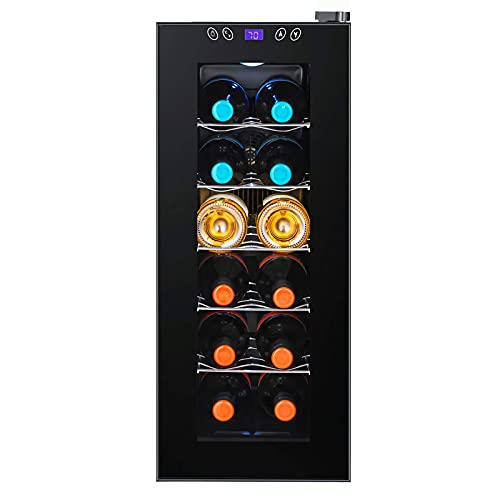 JLKDF Refrigerador de Vino, Bodega termoeléctrica Independiente, Mini refrigerador de Vino de encimera, Temperatura y Humedad constantes, 12 Botellas