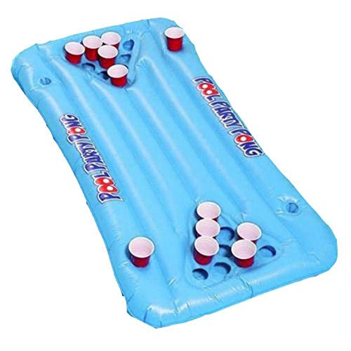 heirao4072 Aufblasbares Bier Pong Raft Floating Pool Pong Spiel, Floating Pool Party Game Floß Und Lounge Für Erwachsene Pool Party Bier Pong Spielzeug, Weich Und Langlebig