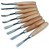 Set di scalpelli per legno, professionale, per sculture e incisioni, per progetti artistici fai da te, 8 pezzi, in acciaio al carbonio e legno