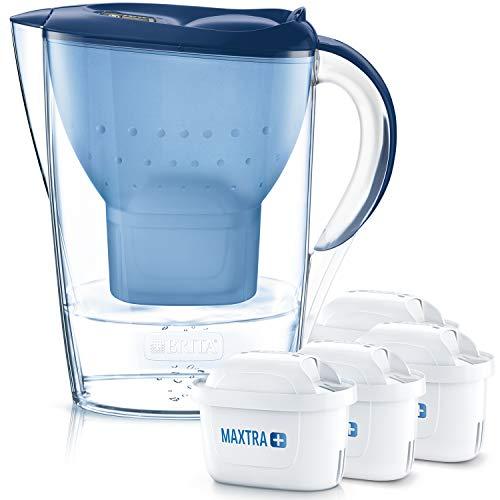 BRITA Wasserfilter Marella blau inkl. 4 MAXTRA+ Filterkartuschen – BRITA Filter Vorteilspaket zur Reduzierung von Kalk, Chlor, Blei, Kupfer & geschmacksstörenden Stoffen im Wasser