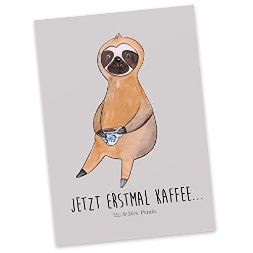 Mr. & Mrs. Panda Geschenkkarte, Karte, Postkarte Faultier Kaffee mit Spruch - Farbe Grau Pastell