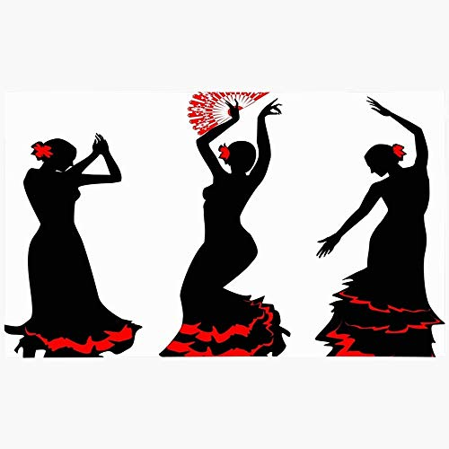 Felpudo Felpudo Grace Silueta con Tres Siluetas Bailarina de Flamenco Ritmo Gitano Fan España Rumba Gente Tango Lavable a máquina Alfombras Antideslizantes Baño Cocina Decoración Área Alfombra