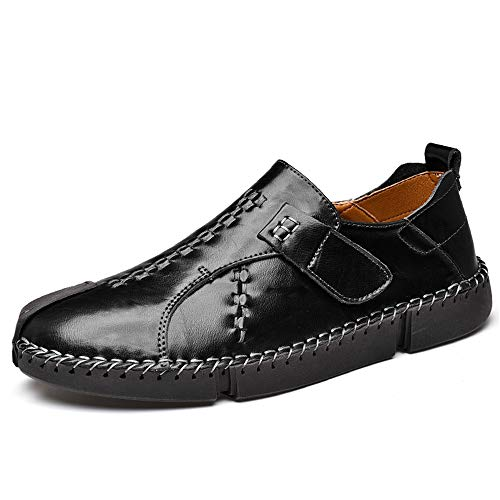 UPIShi Leather Mens Casual Slip-On Driving Loafers Oxford Walking Boat Sneaker Shoes Black 45