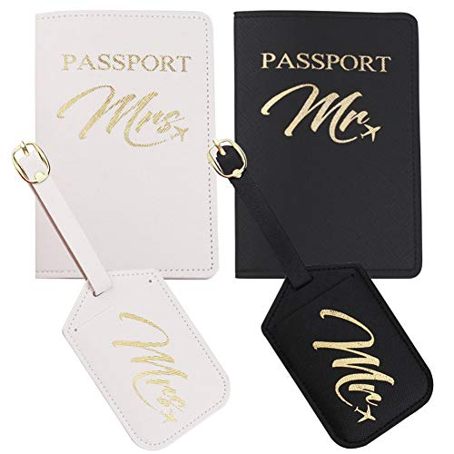 Snogisa Mr and Mrs passport holder and luggage tags gift set, Wedding Gifts for Couple,Honeymoon Travel Luggage,Best Bridal Shower and Engagement Gifts