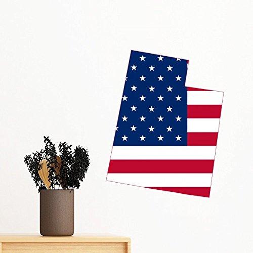 DIYthinker Die Vereinigten Staaten von Amerika USA Utah Karte Amerikanische Flagge Flagge Form entfernbarer Wand-Aufkleber-Kunst-Abziehbilder Wand-DIY Tapete für Zimmer Aufkleber 35cm