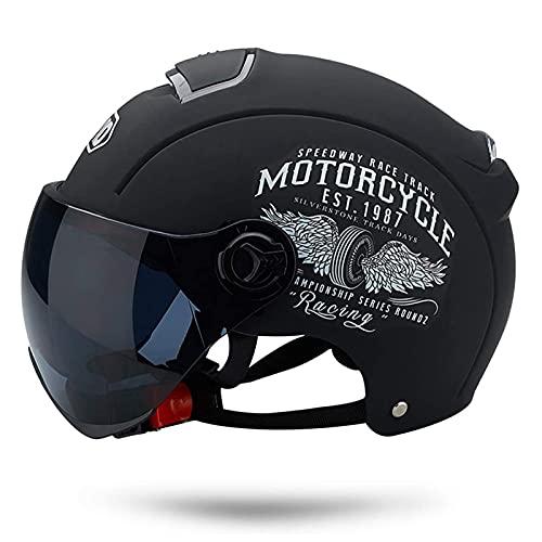 Casco Moto Abierto, Retro Cascos Moto Half Helmet Media Casco de Protección con Visera, ECE Homologado Casco Moto Jet para Scooter Mofa Crash (Color : Matte Black, Size : (50-64cm))