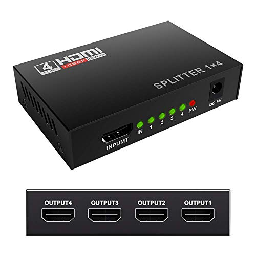 HDMI Splitter 4K 1 in 4 Out Mcscants V1.4B Powered 1x4 Ports Box Video Converter Supports Full Ultra HD 1080P 4K/2K and 3D Resolutions for PS4 Xbox Player HD TV Projector 1 Input to 4 Outputs - 4 Way