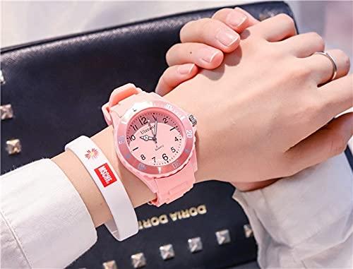 Msltely Relojes de Pulsera Moda Silicona Relojes Mujeres Sport Sport Damas Relojes de Pulsera de Cuarzo Niños Frescos Regalos de Reloj Regalo (Color : Pink)