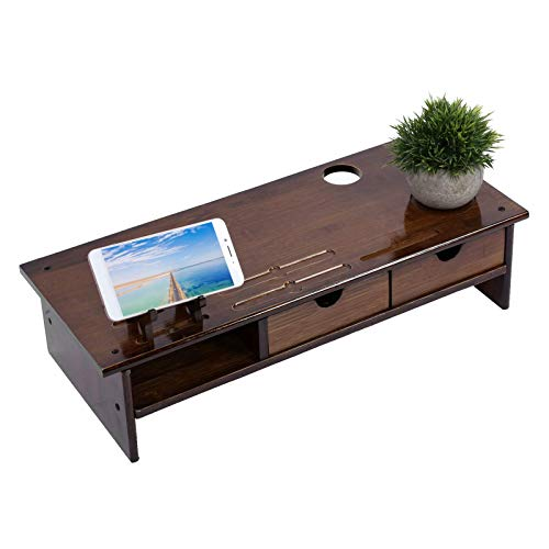 Gaohm Bamboo Computer Riser Desk Mount Bamboo Monitor Stand Spring Monitor Stand Adjustable Bathroom Indoor for Office Home