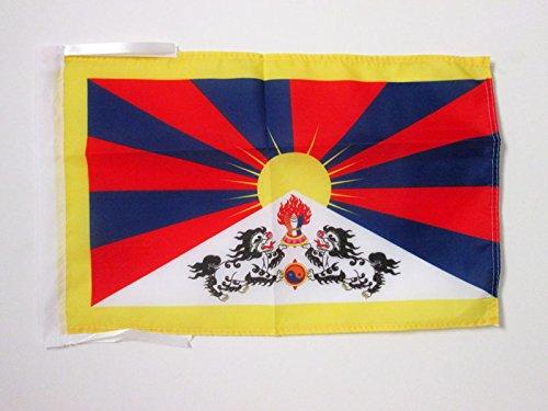 AZ FLAG Bandera del Tibet 45x30cm - BANDERINA TIBETANA - Budista 30 x 45 cm cordeles