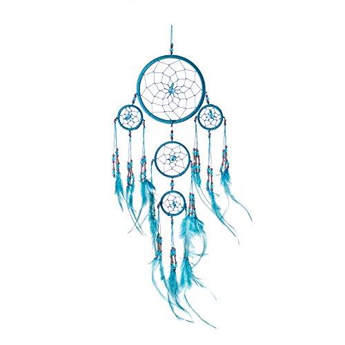 Pink Pineapple Dreamcatcher mit Federn und Silberperlen: Handgemachter Traumfänger Vielen Farben Erhältlich - Türkis - Kleine Traumfänger Mit 12 cm Durchmesser und 35 cm Lang
