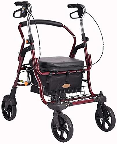 LHGXQ-Dp Caminante con Carrito Ancianos, Andador con Andador Médico Bariátrico De Servicio Pesado Asiento Y 4 Ruedas, Canasta De Ruedas De 8 Pulgadas Y Frenos,Rojo,58 * 70 * 90~101CM