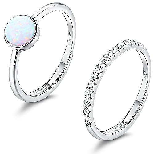 Milacolato 2Pcs 925 Silber Ring Damen Verstellbar Zirkonia CZ Opal Ring Promise Eheringe Verstellbar Ringe Set Damen Schmuck